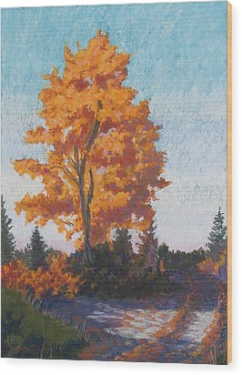 Wood Print featuring the painting Country Road Cold Fall Morning by Robert Decker