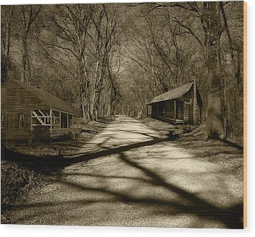 Wood Print featuring the photograph Country Road In Sepia by Cecil Fuselier