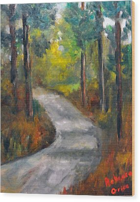 Country Road Wood Print by Rebecca Grice