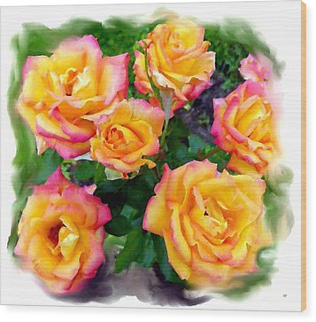 Country Roses Watercolor Wood Print by Will Borden