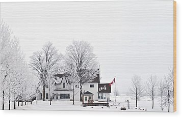 Wood Print featuring the photograph Country Side House In Canada Winter Time by Marek Poplawski