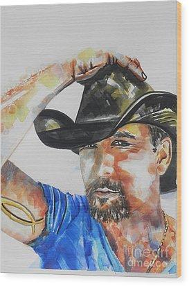 Country Singer Tim Mcgraw 02 Wood Print