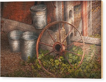 Country - Some Dented Pails And An Old Wheel  Wood Print by Mike Savad