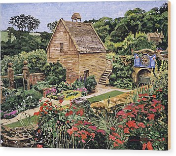 Country Stone Manor House Wood Print by David Lloyd Glover