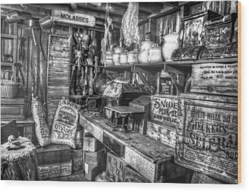 Country Store Supplies Black And White Wood Print by Ken Smith