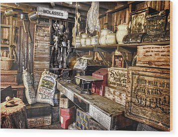 Country Store Supplies Wood Print by Ken Smith