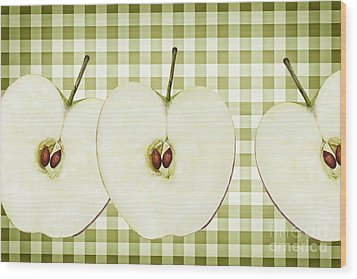 Country Style Apple Slices Wood Print by Natalie Kinnear