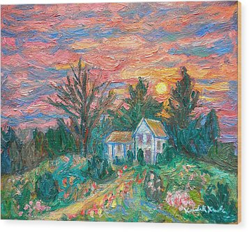 Country Sunset Wood Print by Kendall Kessler