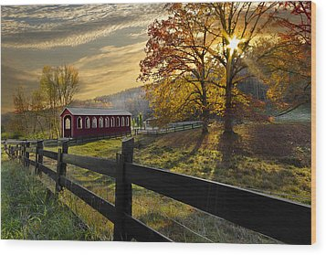 Country Times Wood Print by Debra and Dave Vanderlaan