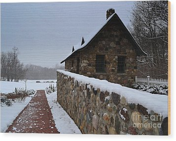 Country Winter Landscape  Wood Print