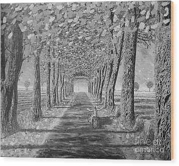 Wood Print featuring the painting Country.fall.bw by Viktor Lazarev