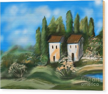 Countryside Wood Print by Christine Fournier