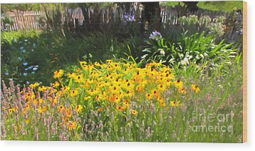 Countryside Cottage Garden 5d24560 Long Wood Print by Wingsdomain Art and Photography