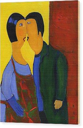 Couple Wood Print by Agnes Trachet
