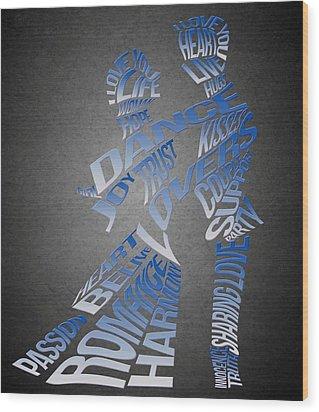 Couple Love Typography Wood Print by Georgeta Blanaru