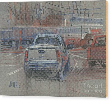 Wood Print featuring the painting Couple Of Chevys by Donald Maier