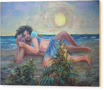 Wood Print featuring the painting Couple On The Beach by Laila Awad Jamaleldin