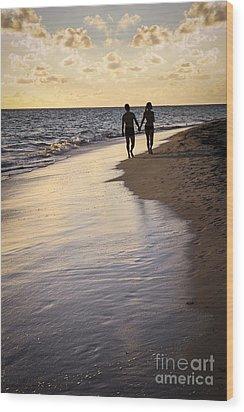 Couple Walking On A Beach Wood Print by Elena Elisseeva