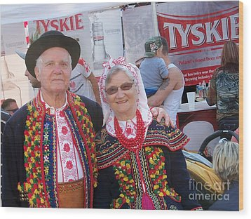 Couples In Polish National Costumes Wood Print by Lingfai Leung