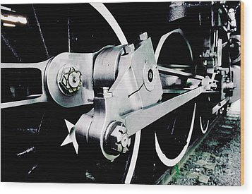 Coupling Rods And Driver Wheels For A Steam Locomotive Wood Print by Wernher Krutein