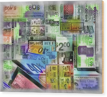 Coupon Collage Wood Print by Steve Ohlsen