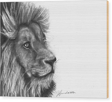 Wood Print featuring the drawing Courage Of A Lion by J Ferwerda