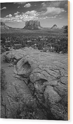 Courthouse Butte In Sedona Bw Wood Print by Dave Garner