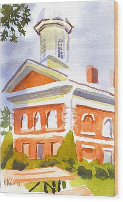 Courthouse With Picnic Table Wood Print by Kip DeVore