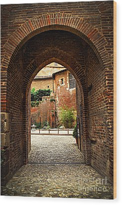 Courtyard Of Cathedral Of Ste-cecile In Albi France Wood Print by Elena Elisseeva
