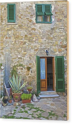 Courtyard Of Tuscany Wood Print by David Letts