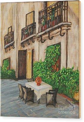 Courtyard Seating Wood Print by JoAnn Wheeler