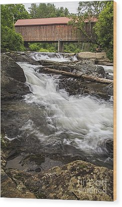 Covered Bridge And Waterfall Wood Print by Edward Fielding