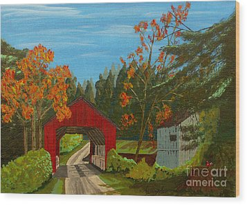 Covered Bridge Wood Print by Anthony Dunphy