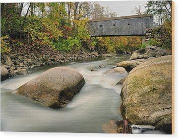 Covered Bridge At Bull Run - Kent Connecticut Wood Print by Thomas Schoeller