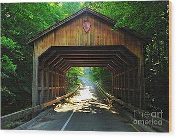 Covered Bridge At Sleeping Bear Dunes National Lakeshore Wood Print by Terri Gostola
