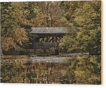 Wood Print featuring the photograph Covered Bridge At Sturbridge Village by Jeff Folger