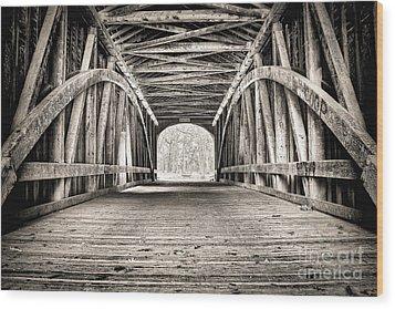 Covered Bridge B N W Wood Print