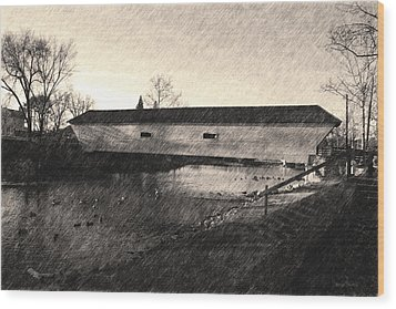 Wood Print featuring the photograph Covered Bridge Elizabethton Tennessee C. 1882 Sepia by Denise Beverly