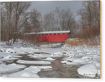 covered bridge Everett rd. Wood Print by Daniel Behm