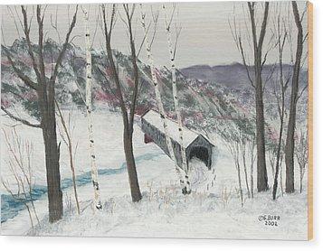 Covered Bridge Wood Print by George Burr