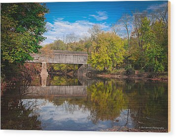 Wood Print featuring the photograph Covered Bridge In Autumn by Phil Abrams