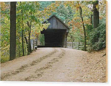 Covered Bridge In October Wood Print by Vinnie Oakes