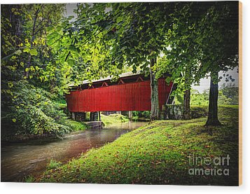 Covered Bridge In Pa Wood Print by Dan Friend