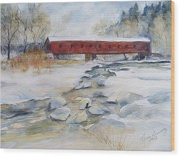 Covered Bridge In Snow Wood Print by Heidi Brantley
