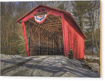 Covered Bridge In Snow Wood Print by Patti Burnett
