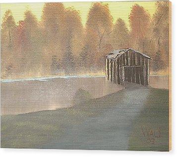 Covered Bridge Wood Print by James Waligora