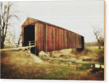 Covered Bridge Magic Wood Print by Marty Koch