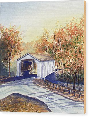Covered Bridge On The Lochatong Wood Print