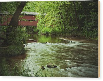 Covered Bridge Over French Creek Wood Print by Michael Porchik