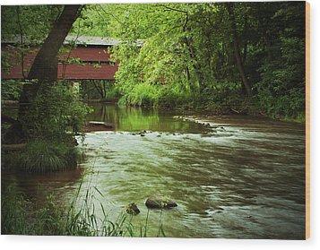 Covered Bridge Over French Creek Wood Print